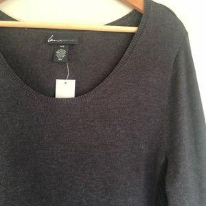 Lane Bryant grey sweater dress w/ black contrast